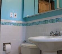diy bathroom makeover before baby, bathroom ideas, diy, home improvement, small bathroom ideas, tile flooring, City Lights 5 x 5 St Thomas Glass Mosaic