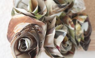 make paper flowers from catalogues and junk mail, crafts, home decor, repurposing upcycling