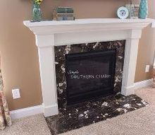 painted fireplace mantel makeover white, diy, fireplaces mantels
