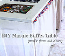 upcycle old doors mosaic buffet table, crafts, diy, doors, painted furniture, repurposing upcycling