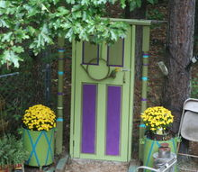 garden art door upcycle repurpose, container gardening, gardening, landscape, outdoor living, repurposing upcycling, woodworking projects, Because I m Happy