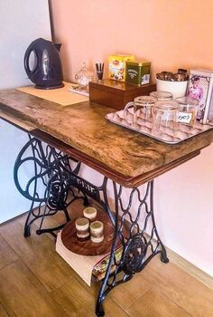 another way to use the old sewing machine, home decor, repurposing upcycling, Tea and coffee bar