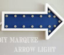 diy marquee arrow wall decor, diy, home decor, lighting, wall decor