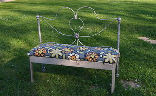 bench bedframe upcycle build, painted furniture
