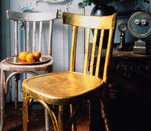 apply gold leaf to old chairs for a new look, diy, painted furniture, woodworking projects, Easy DIY Apply Gold Leaf to Old Wood Chairs
