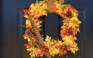 diy fall wreath leaves feathers, crafts, seasonal holiday decor, wreaths