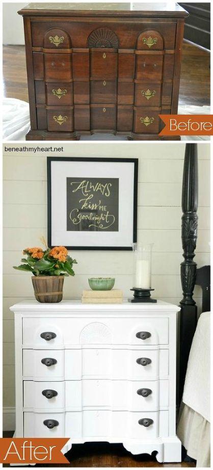 Bedside Table White Paint Makeover Hometalk