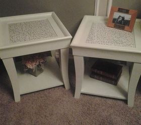 end coffee table makeover upholstered makeover painted furniture repurposing upcycling reupholster finished