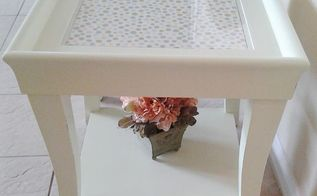 end coffee table makeover upholstered makeover, painted furniture, repurposing upcycling, reupholster