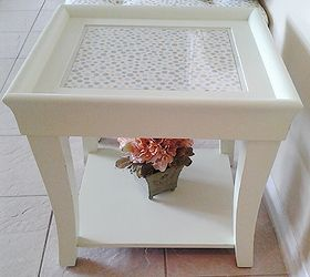 end coffee table makeover upholstered makeover painted furniture repurposing upcycling reupholster