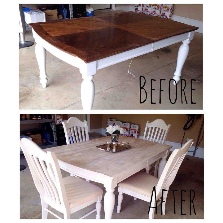 Painting staining a kitchen table hometalk - Restaining kitchen table ...