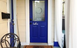 front door makeover stencil blue budget, diy, doors