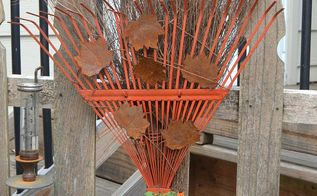 fall rake decoration broom outdoor easy, crafts, repurposing upcycling, seasonal holiday decor