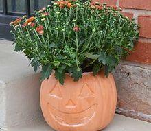 faux terra cotta jack o lantern planter, crafts, gardening, halloween decorations, repurposing upcycling, seasonal holiday decor