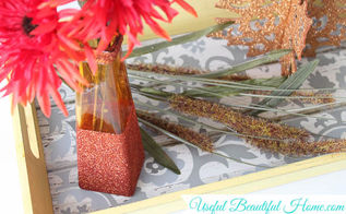 fall decor vase dollar store glitter dipped, crafts, seasonal holiday decor
