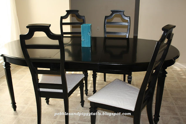 Black dining table re do hometalk for Painted dining room furniture ideas