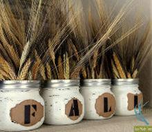 mason jar painted fall centerpiece, crafts, mason jars, painting, repurposing upcycling