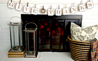 give thanks cork banner, crafts, fireplaces mantels, home decor