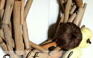 driftwood fall pumpkin wreath, crafts, seasonal holiday decor, wreaths