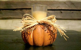 pumpkin candle holder chair foot repurpose, crafts, repurposing upcycling, seasonal holiday decor, woodworking projects