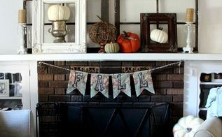 fall mantel banner tutorial, crafts, fireplaces mantels, seasonal holiday decor