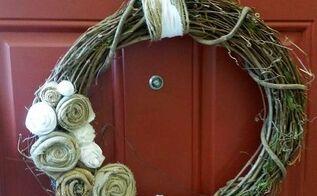 diy fall wreath pompom fabric rose, crafts, seasonal holiday decor, wreaths