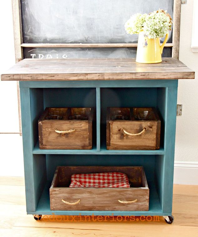 Kitchen Islands Made From Old Furniture: Turn Old Bookshelf Into Rolling Kitchen Island!