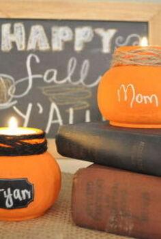 pumpkin jar candleholder place marker joanns budget, crafts, seasonal holiday decor