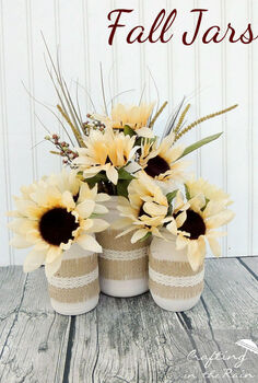 mason jars fall centerpiece burlap doily sunflowers, crafts, home decor, mason jars