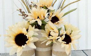 mason jars fall centerpiece burlap doily sunflowers, crafts, home decor, mason jars