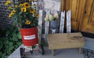 fall porch decor vintage thrift welcome, porches, seasonal holiday decor