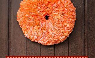 diy pumpkin wreath coffee filters dyed, crafts, repurposing upcycling, seasonal holiday decor, wreaths