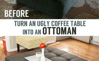 coffee table turned tufted ottoman, diy, repurposing upcycling, reupholster