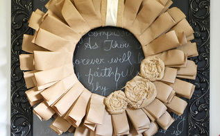 fall wreath recycled paper fabric scraps frugal cheap, crafts, wreaths