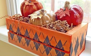 fall decor stenciled wood crate, crafts, diy, seasonal holiday decor, woodworking projects