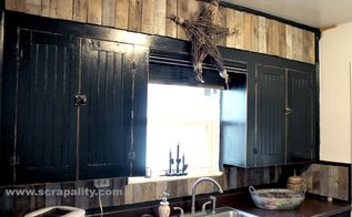 black chalkboard cabinets with pallet backsplash, chalk paint, kitchen backsplash, kitchen cabinets, kitchen design, pallet, repurposing upcycling