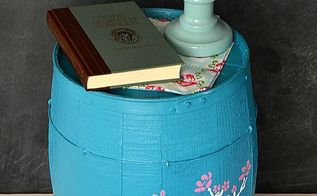 painted stenciled barrel nightstand upcycle, painted furniture, painting