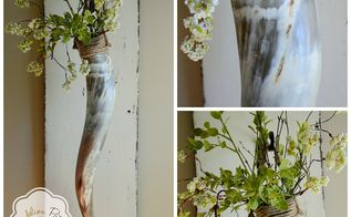 longhorn wall sconces, flowers, home decor, repurposing upcycling