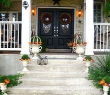 front porch fall decor planters autumn colors, porches, seasonal holiday decor