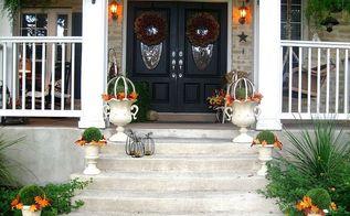 front porch fall decor planters autumn colors, porches, seasonal holiday decor