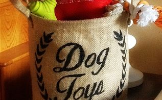 stencil burlap dog toy storage ballard knock off, crafts, repurposing upcycling