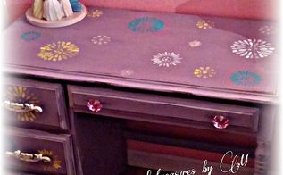garage sale desk transformed into a little girls dream desk, painted furniture, after and transformed