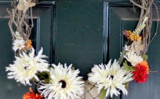 burlap flowers fall wreath fall autumn decor, crafts, seasonal holiday decor, wreaths