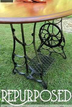 repurposed treadle sewing machine dining table, diy, repurposing upcycling, rustic furniture, woodworking projects