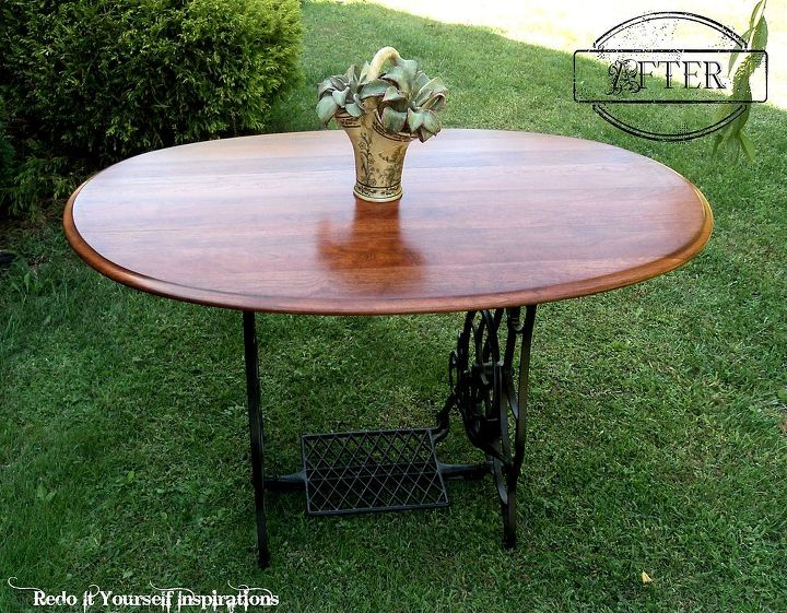 repurposed treadle sewing machine dining table diy repurposing upcycling rustic furniture woodworking. beautiful ideas. Home Design Ideas
