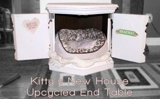 cat bed upcycle end table painted repurpose, painted furniture, pets animals, repurposing upcycling