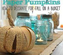 book page paper pumpkin fall decor craft budget, crafts, seasonal holiday decor