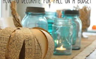 book page paper pumpkin fall decor craft budget, crafts, seasonal holiday decor