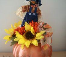 dollar store pumpkin makeover, crafts, flowers, halloween decorations, seasonal holiday decor