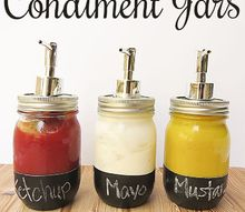 chalkboard paint condiment jars, chalkboard paint, crafts, mason jars, repurposing upcycling